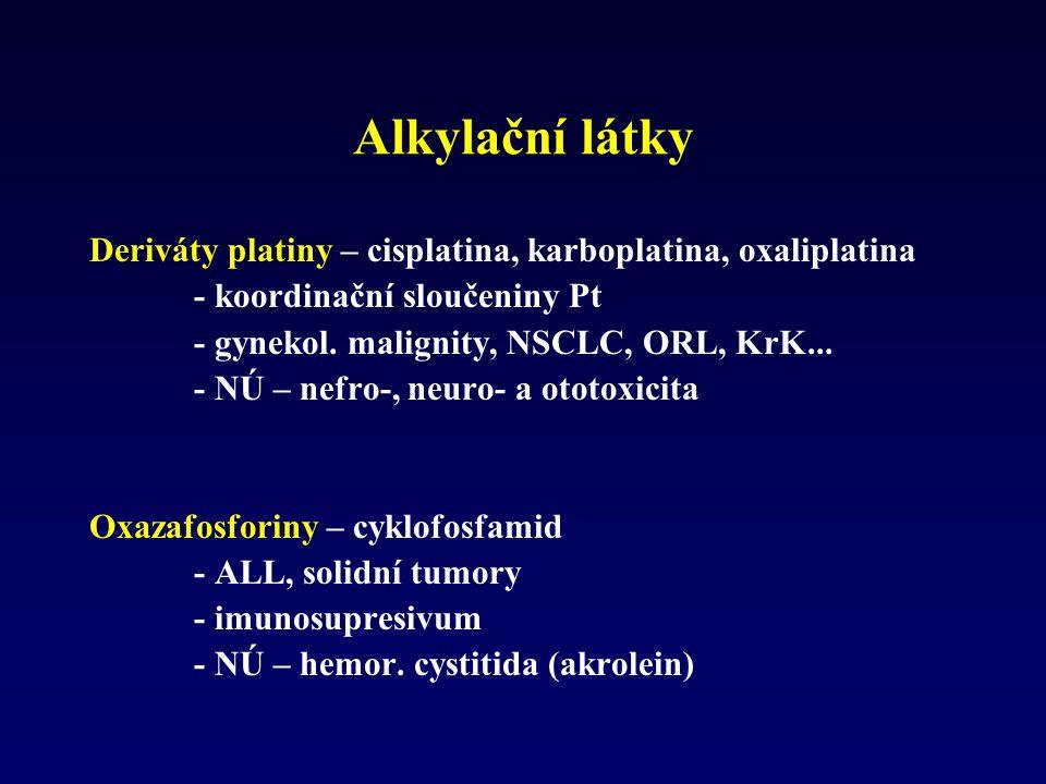 Alkylační látky Deriváty platiny – cisplatina, karboplatina, oxaliplatina. - koordinační sloučeniny Pt.