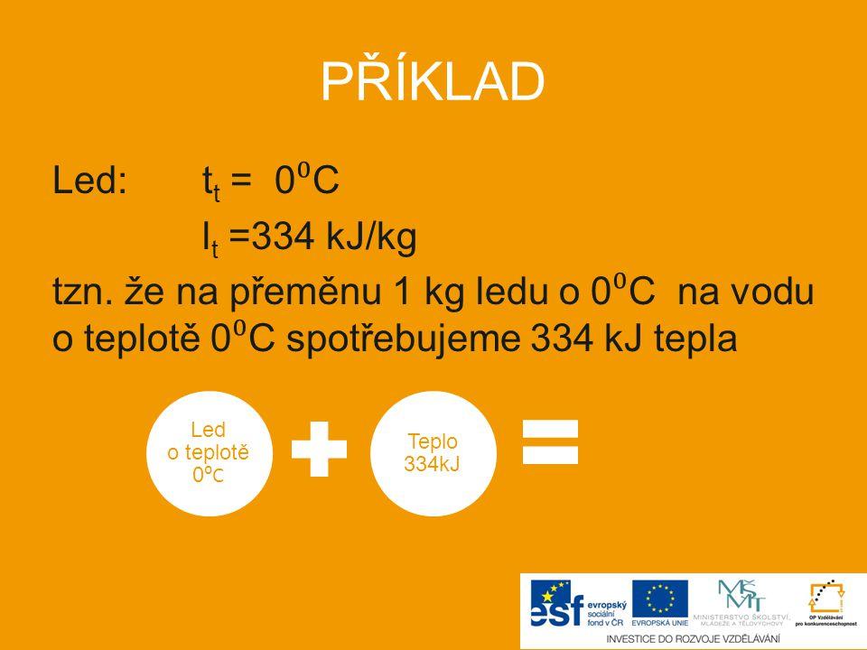 PŘÍKLAD Led: tt = 0⁰C lt =334 kJ/kg