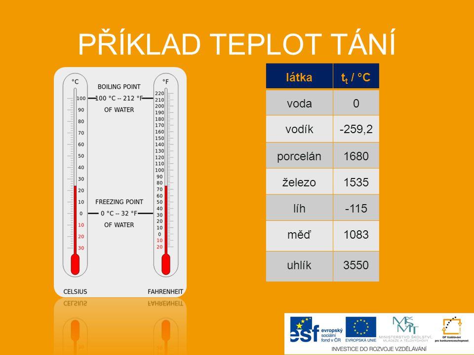 PŘÍKLAD TEPLOT TÁNÍ látka tt / °C voda vodík -259,2 porcelán 1680