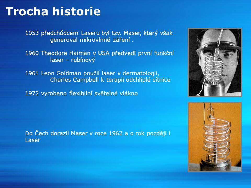 Trocha historie 1953 předchůdcem Laseru byl tzv. Maser, který však generoval mikrovlnné záření .