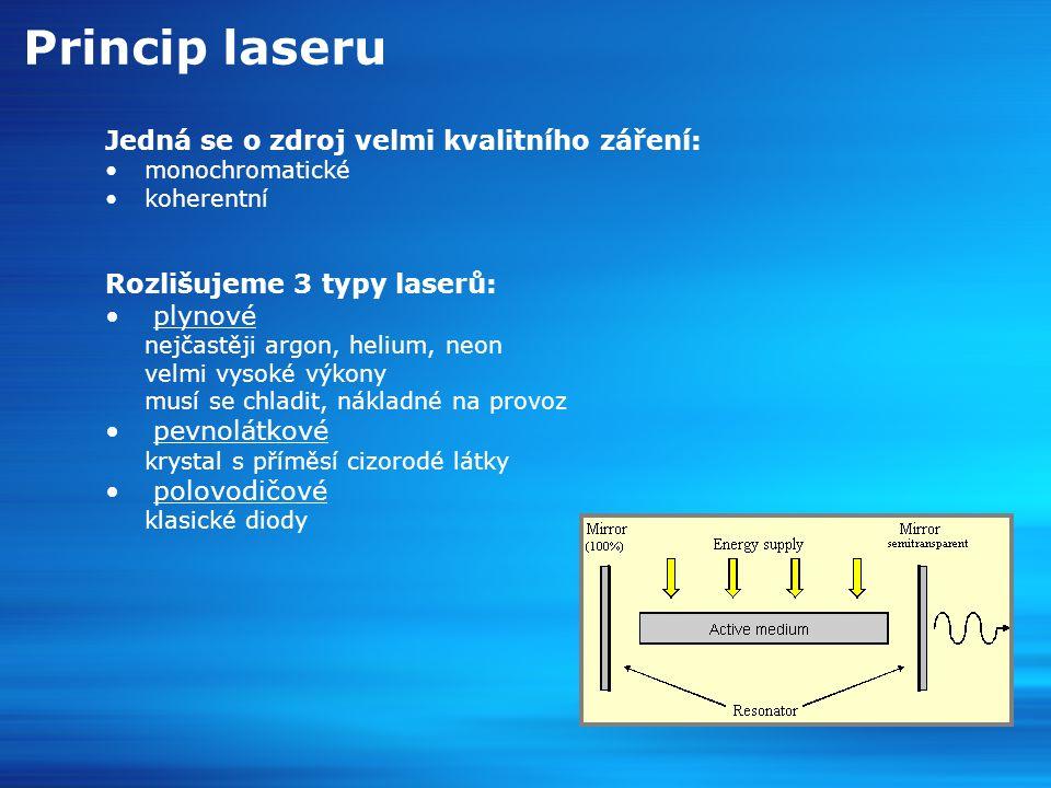 Princip laseru Jedná se o zdroj velmi kvalitního záření: