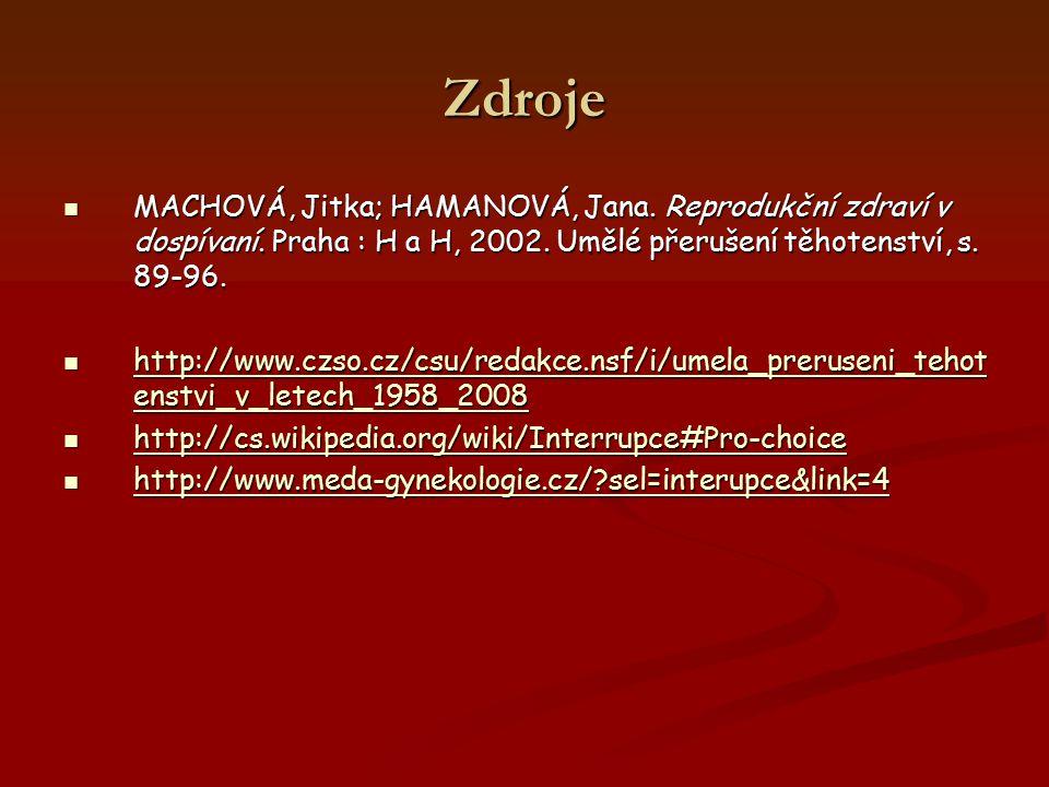 Zdroje MACHOVÁ, Jitka; HAMANOVÁ, Jana. Reprodukční zdraví v dospívaní. Praha : H a H, 2002. Umělé přerušení těhotenství, s. 89-96.