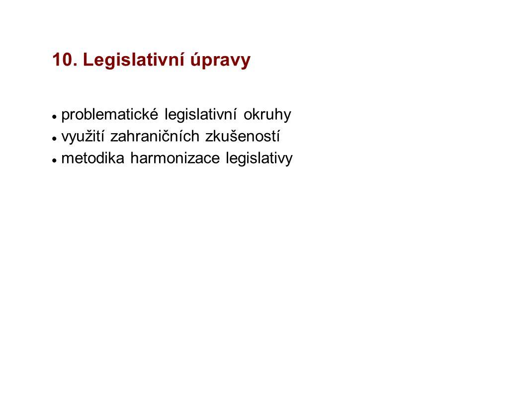 10. Legislativní úpravy problematické legislativní okruhy