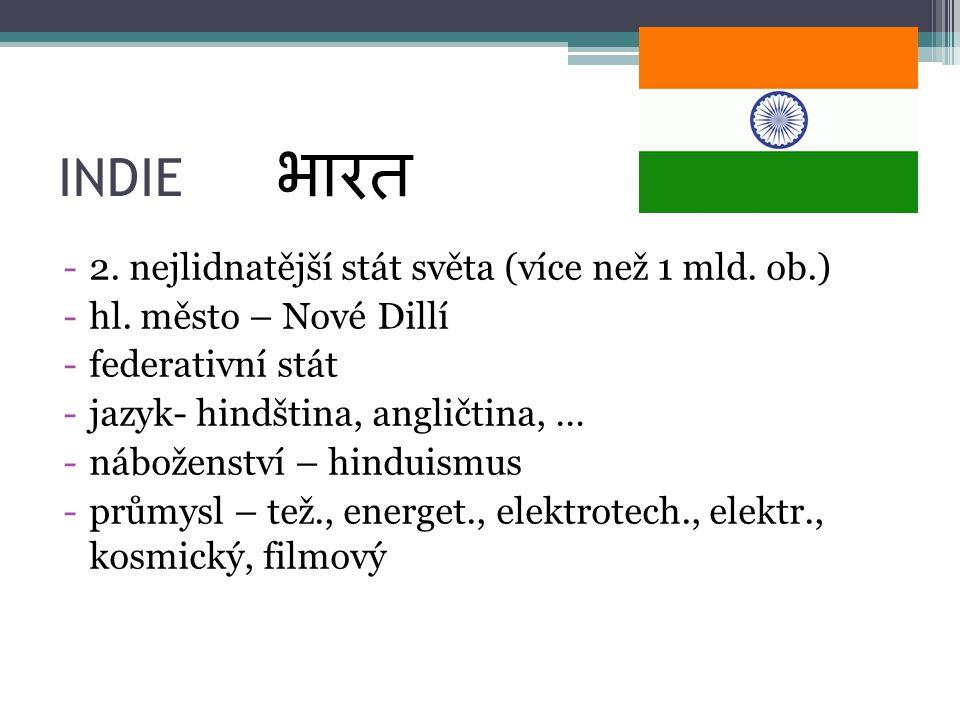 भारत INDIE 2. nejlidnatější stát světa (více než 1 mld. ob.)