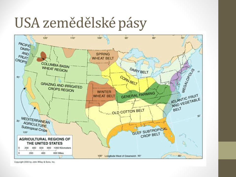 USA zemědělské pásy