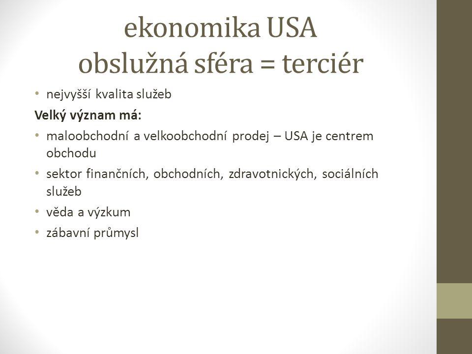 ekonomika USA obslužná sféra = terciér