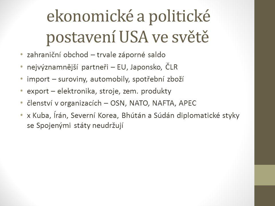 ekonomické a politické postavení USA ve světě