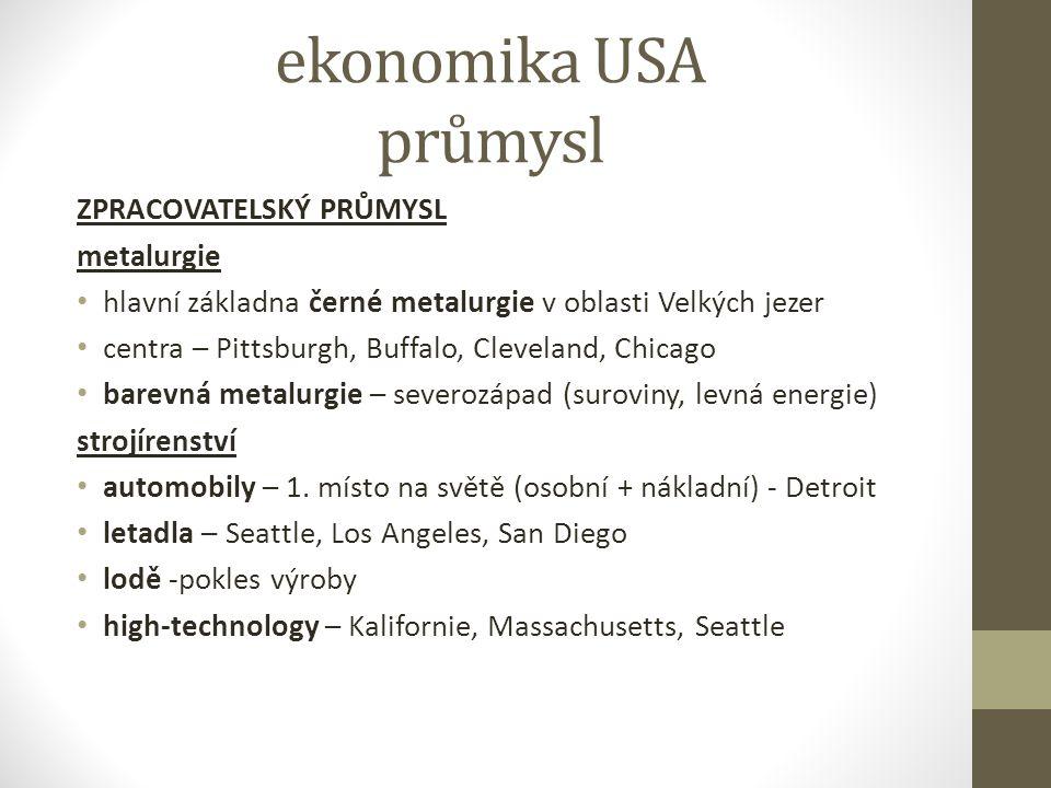 ekonomika USA průmysl ZPRACOVATELSKÝ PRŮMYSL metalurgie