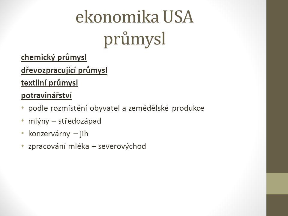 ekonomika USA průmysl chemický průmysl dřevozpracující průmysl