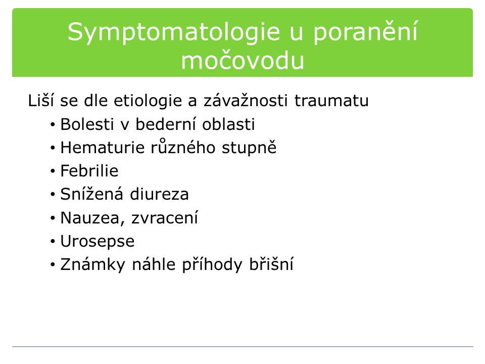 Symptomatologie u poranění močovodu