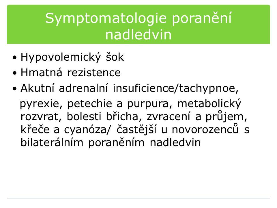 Symptomatologie poranění nadledvin