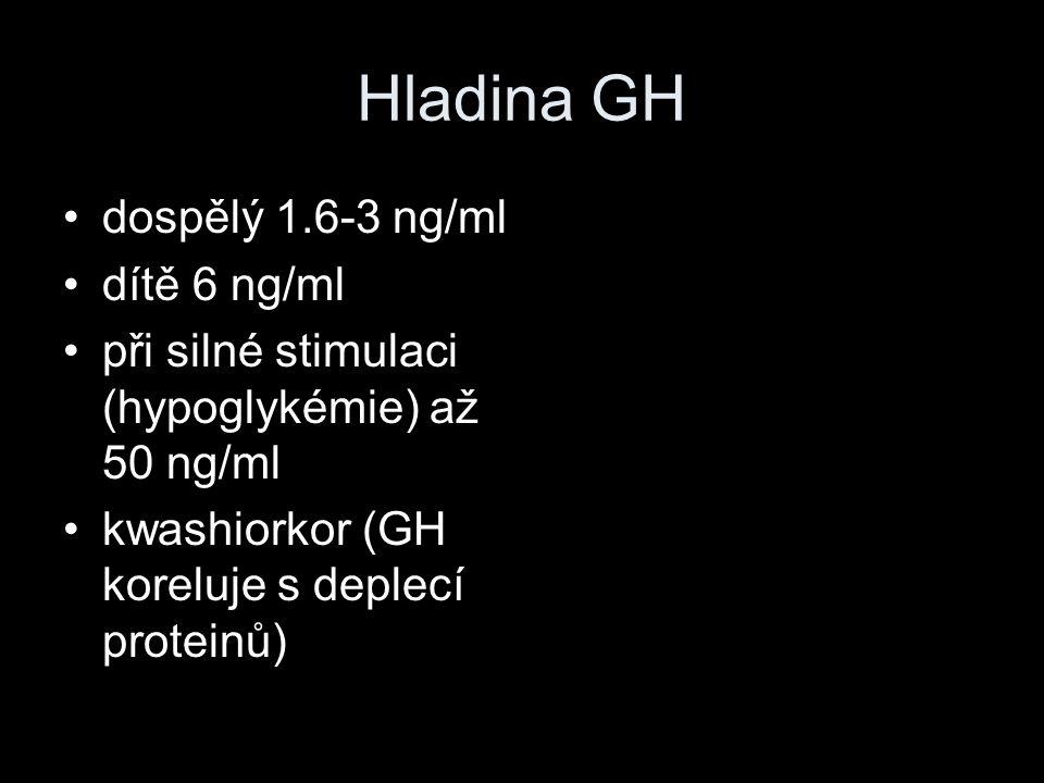 Hladina GH dospělý 1.6-3 ng/ml dítě 6 ng/ml