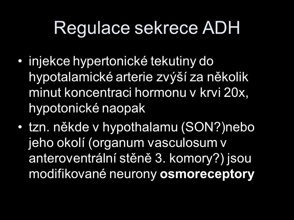Regulace sekrece ADH injekce hypertonické tekutiny do hypotalamické arterie zvýší za několik minut koncentraci hormonu v krvi 20x, hypotonické naopak.