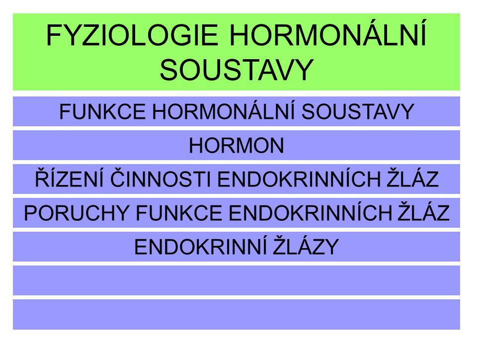 FYZIOLOGIE HORMONÁLNÍ SOUSTAVY