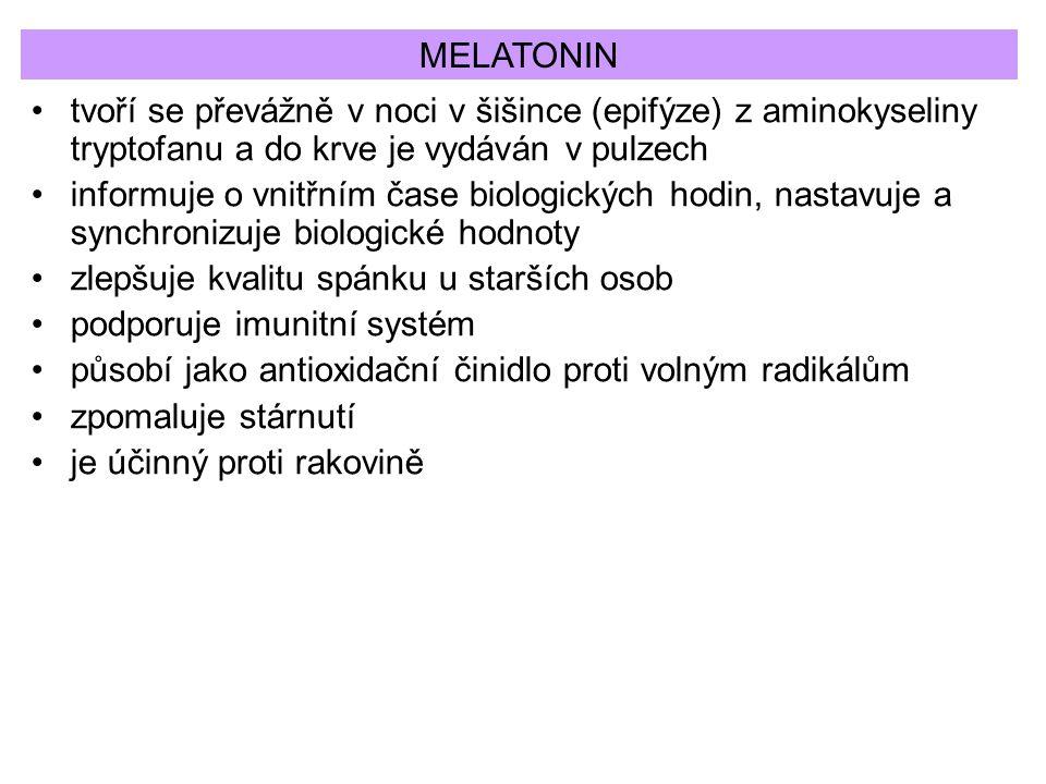 MELATONIN tvoří se převážně v noci v šišince (epifýze) z aminokyseliny tryptofanu a do krve je vydáván v pulzech.