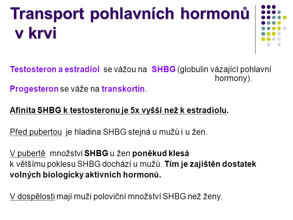 Transport pohlavních hormonů v krvi