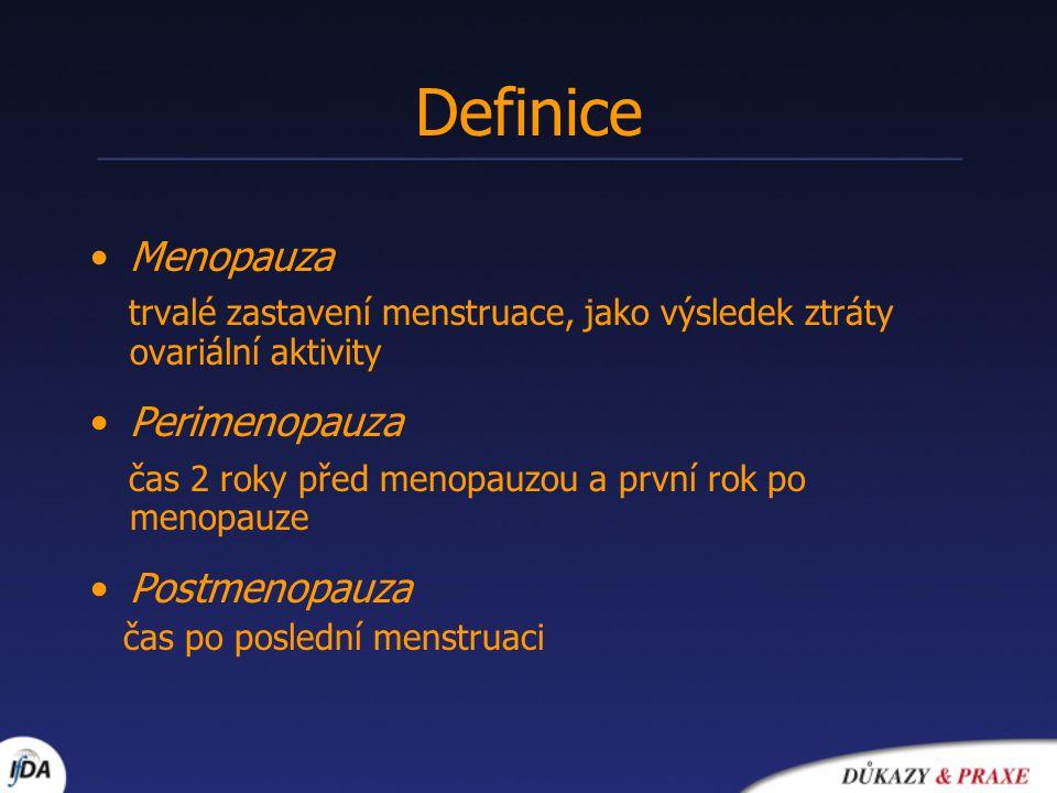 Definice Menopauza. trvalé zastavení menstruace, jako výsledek ztráty ovariální aktivity. Perimenopauza.
