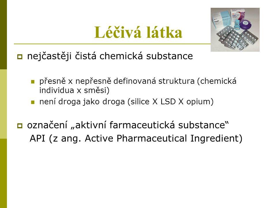 Léčivá látka nejčastěji čistá chemická substance