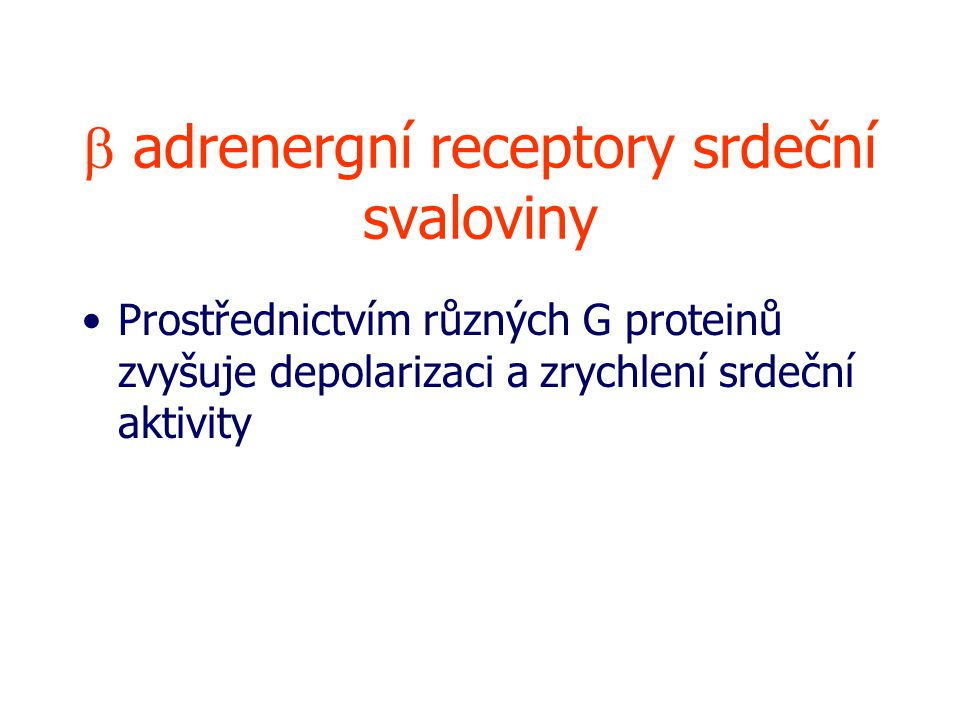 b adrenergní receptory srdeční svaloviny