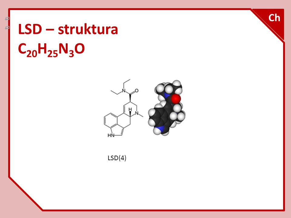 Ch LSD – struktura C20H25N3O LSD(4)
