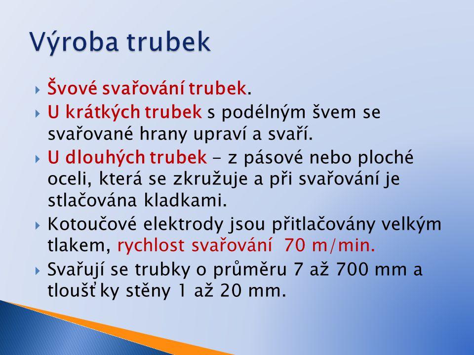 Výroba trubek Švové svařování trubek.