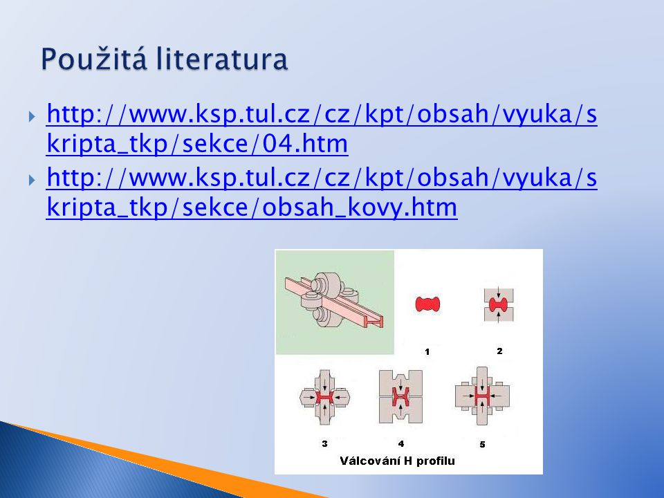 Použitá literatura http://www.ksp.tul.cz/cz/kpt/obsah/vyuka/s kripta_tkp/sekce/04.htm.