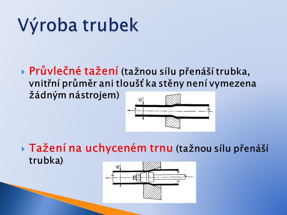 Výroba trubek Průvlečné tažení (tažnou sílu přenáší trubka, vnitřní průměr ani tloušťka stěny není vymezena žádným nástrojem)