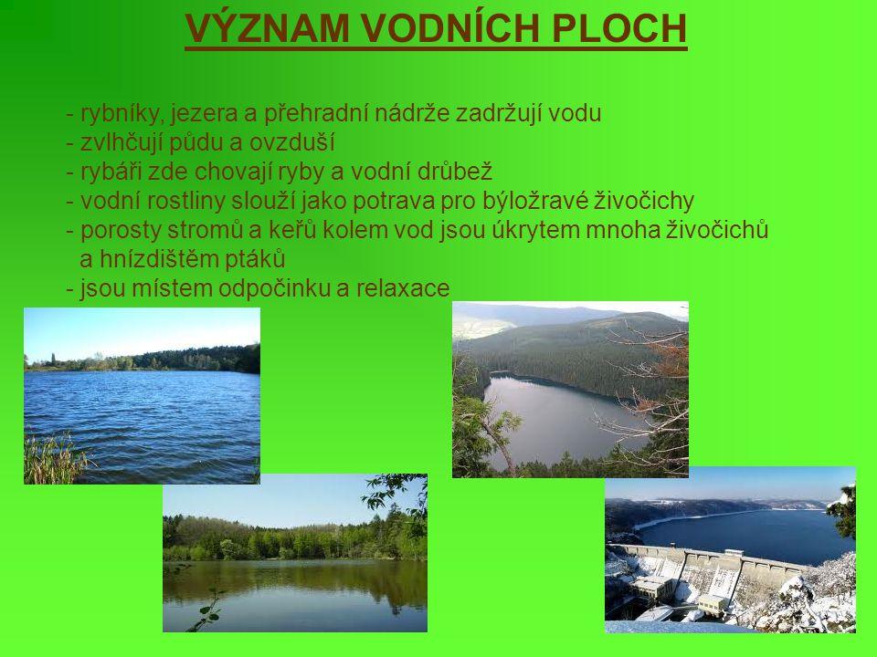 VÝZNAM VODNÍCH PLOCH rybníky, jezera a přehradní nádrže zadržují vodu