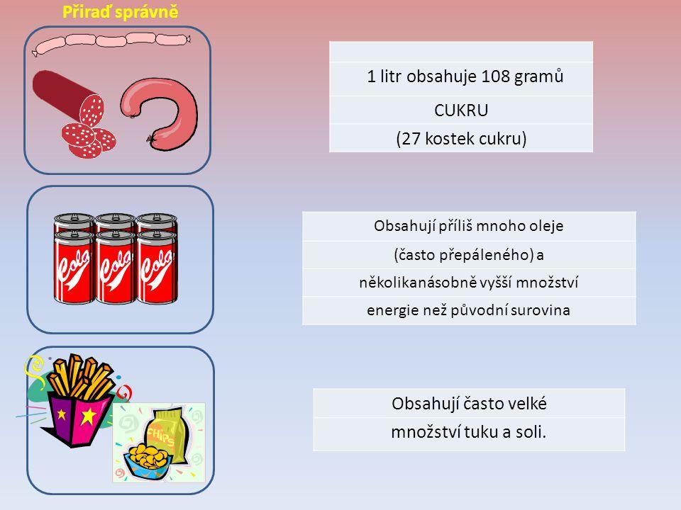 Přiraď správně 1 litr obsahuje 108 gramů CUKRU (27 kostek cukru)