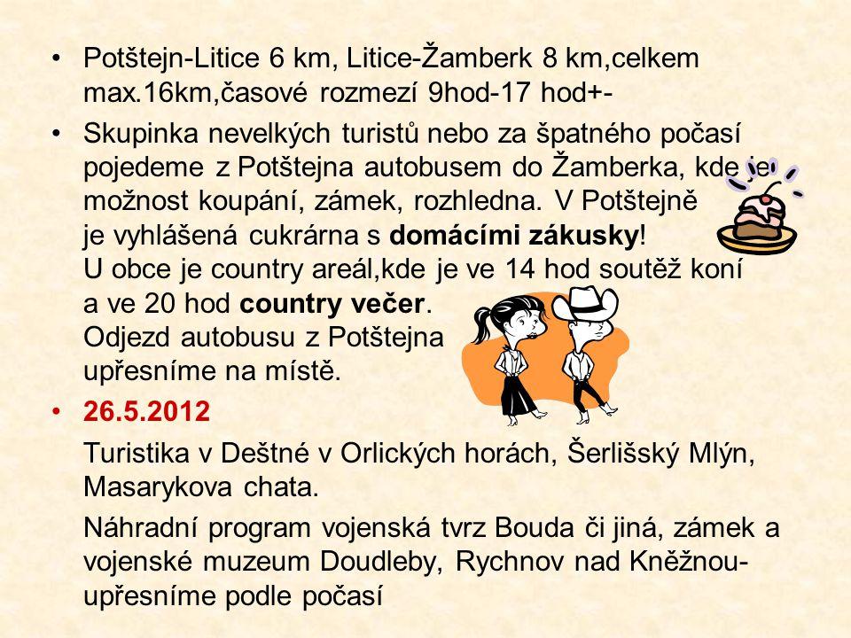 Potštejn-Litice 6 km, Litice-Žamberk 8 km,celkem max