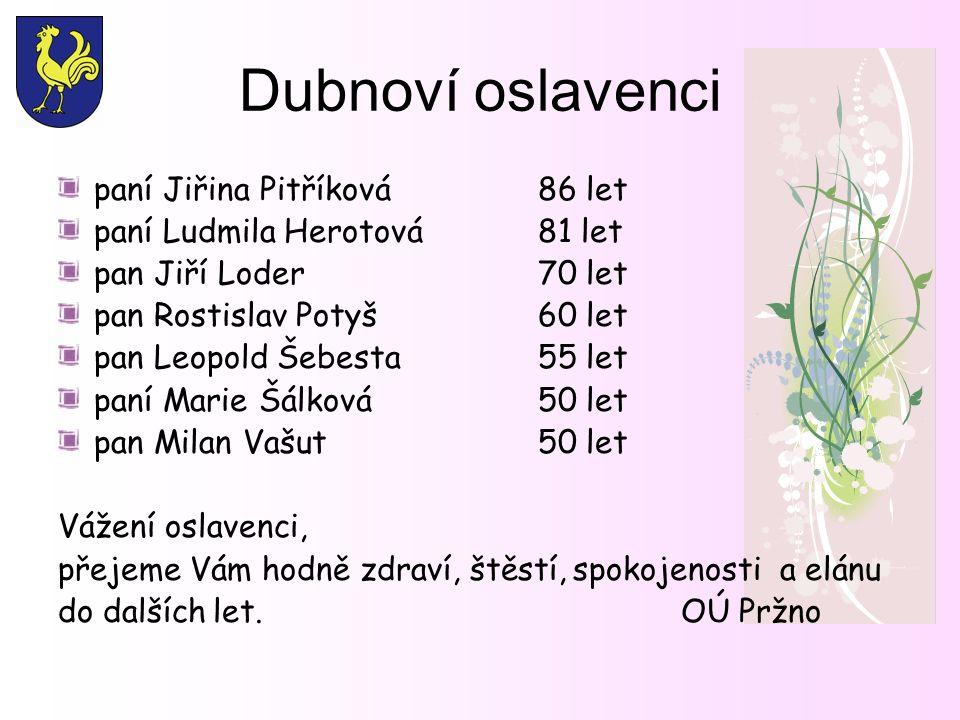 Dubnoví oslavenci paní Jiřina Pitříková 86 let