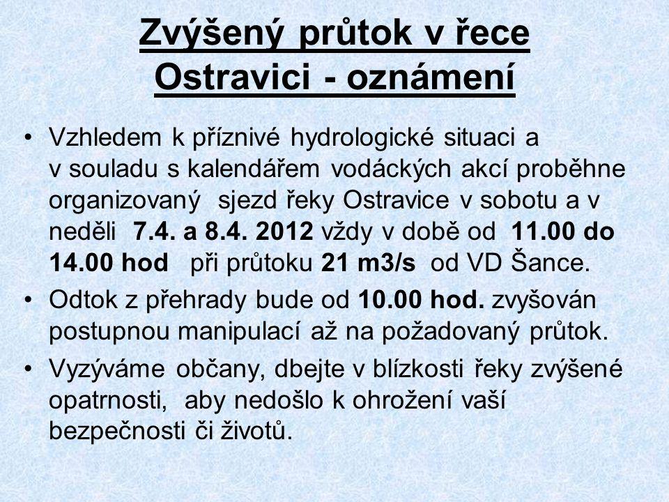 Zvýšený průtok v řece Ostravici - oznámení