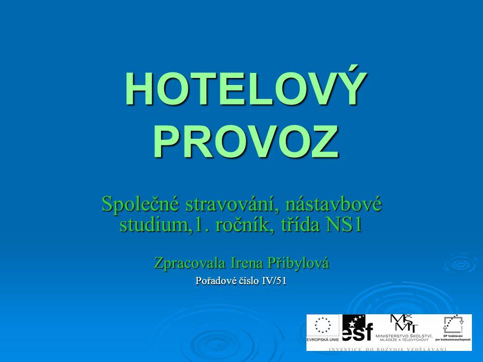 HOTELOVÝ PROVOZ Společné stravování, nástavbové studium,1. ročník, třída NS1. Zpracovala Irena Přibylová.