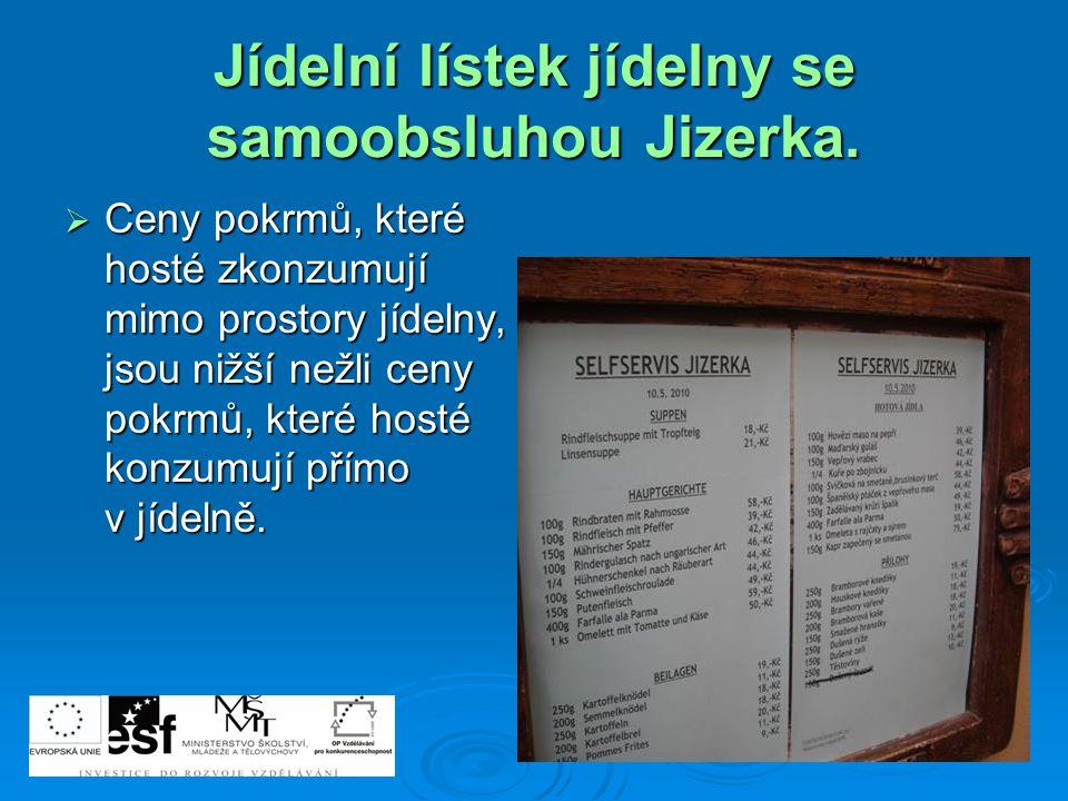 Jídelní lístek jídelny se samoobsluhou Jizerka.