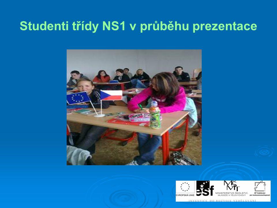 Studenti třídy NS1 v průběhu prezentace