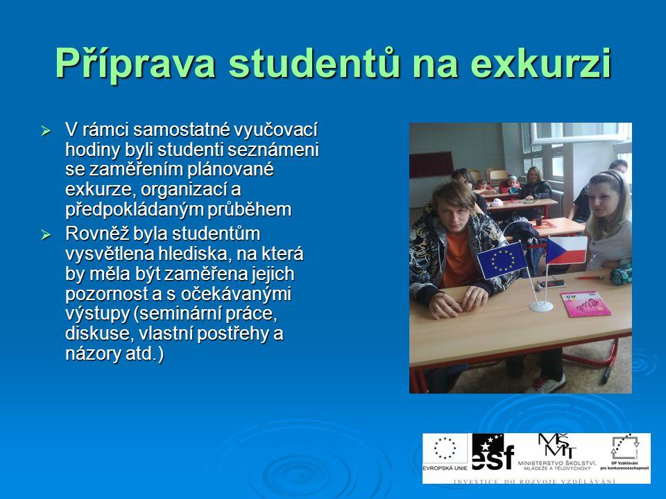 Příprava studentů na exkurzi