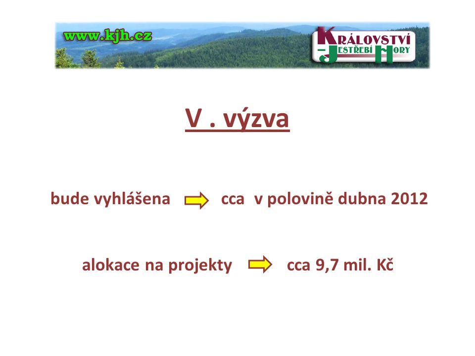 4 V . výzva bude vyhlášena cca v polovině dubna 2012