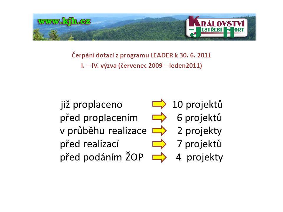 před proplacením 6 projektů v průběhu realizace 2 projekty