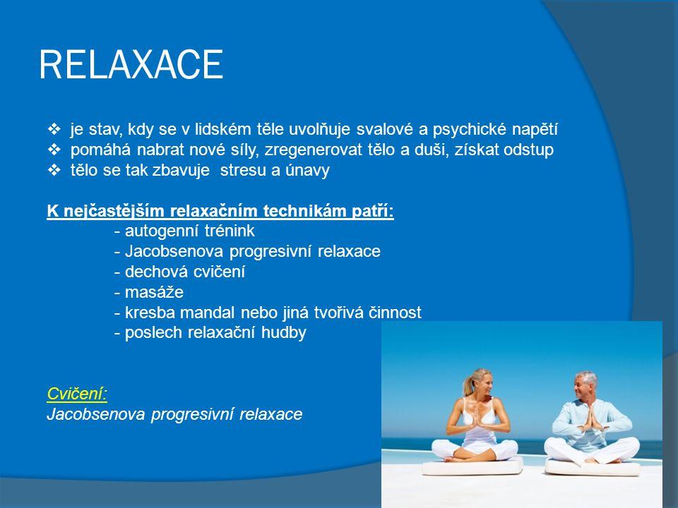 RELAXACE je stav, kdy se v lidském těle uvolňuje svalové a psychické napětí. pomáhá nabrat nové síly, zregenerovat tělo a duši, získat odstup.
