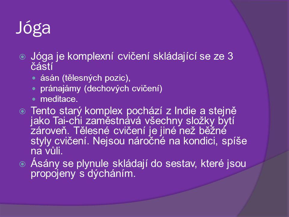 Jóga Jóga je komplexní cvičení skládající se ze 3 částí