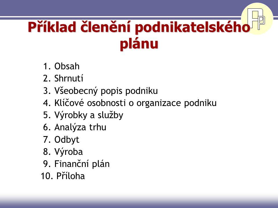 Příklad členění podnikatelského plánu