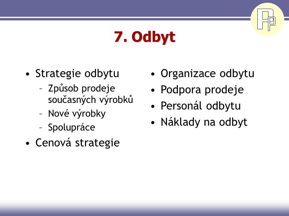 7. Odbyt Strategie odbytu Cenová strategie Organizace odbytu