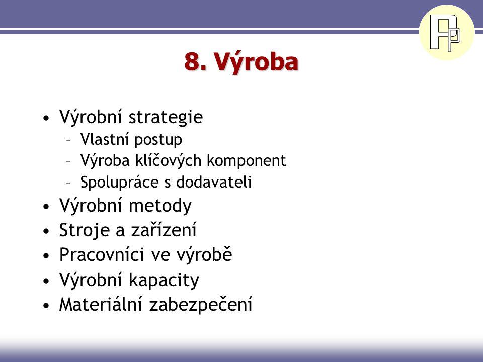 8. Výroba Výrobní strategie Výrobní metody Stroje a zařízení