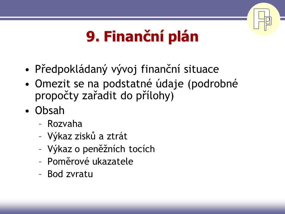 9. Finanční plán Předpokládaný vývoj finanční situace