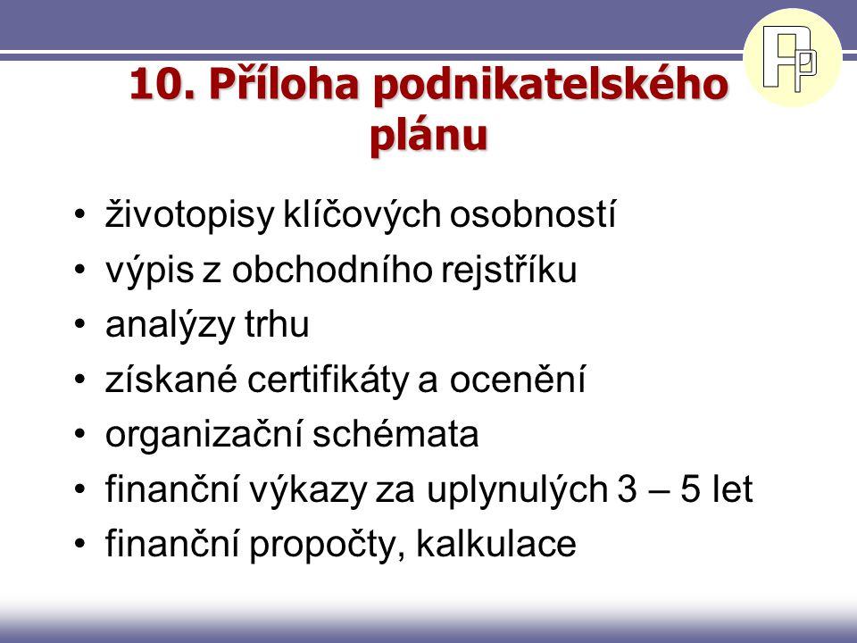 10. Příloha podnikatelského plánu