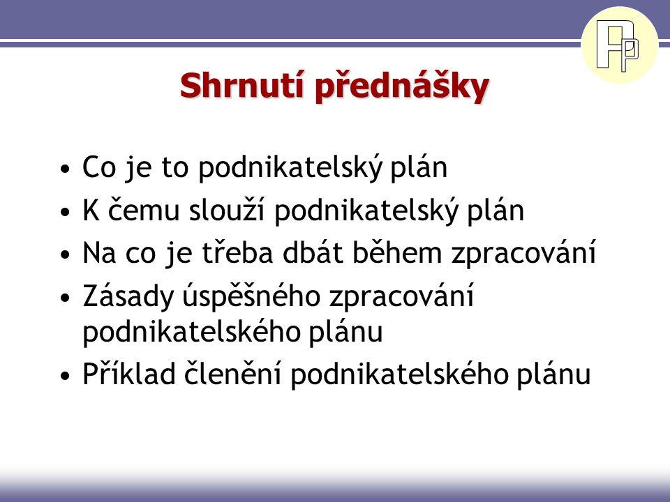 Shrnutí přednášky Co je to podnikatelský plán