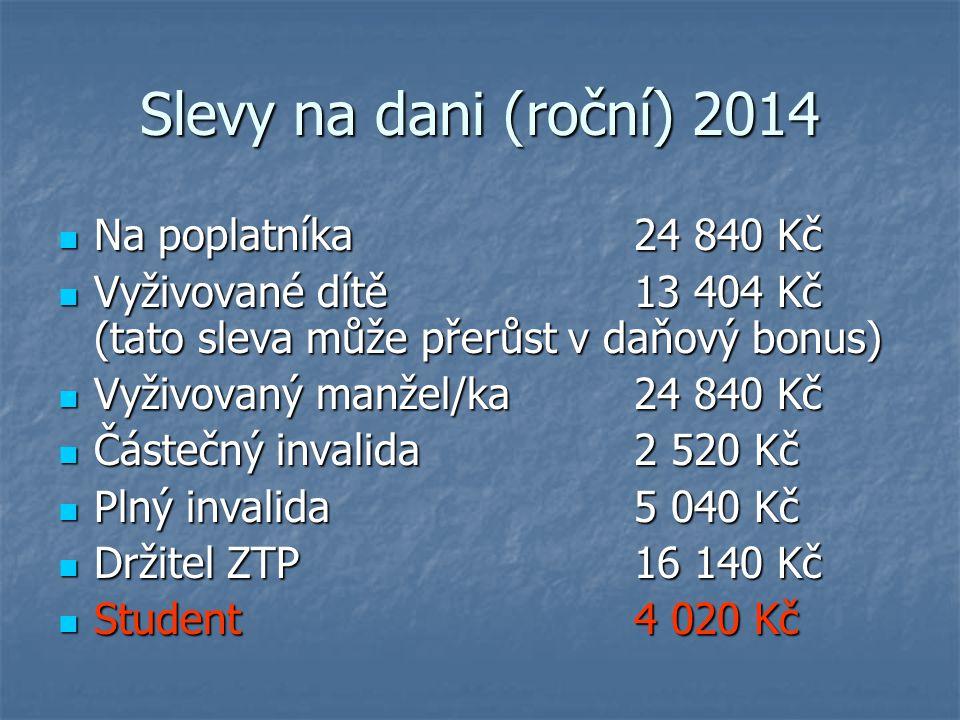 Slevy na dani (roční) 2014 Na poplatníka 24 840 Kč