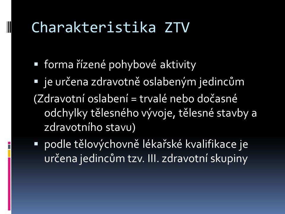Charakteristika ZTV forma řízené pohybové aktivity