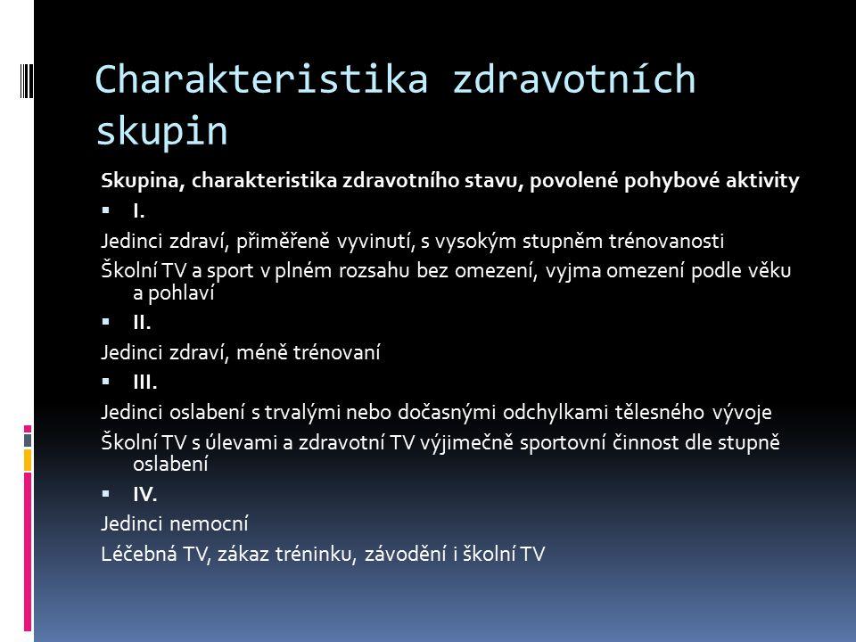 Charakteristika zdravotních skupin