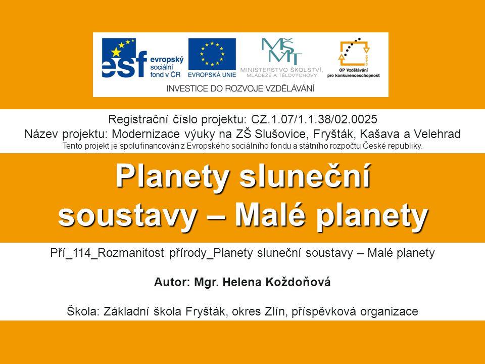 Planety sluneční soustavy – Malé planety